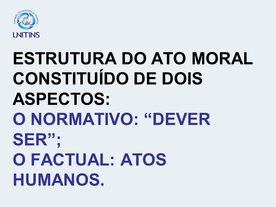 ESTRUTURA DO ATO MORAL CONSTITUÍDO DE DOIS ASPECTOS: O NORMATIVO: DEVER SER; O FACTUAL: ATOS HUMANOS.
