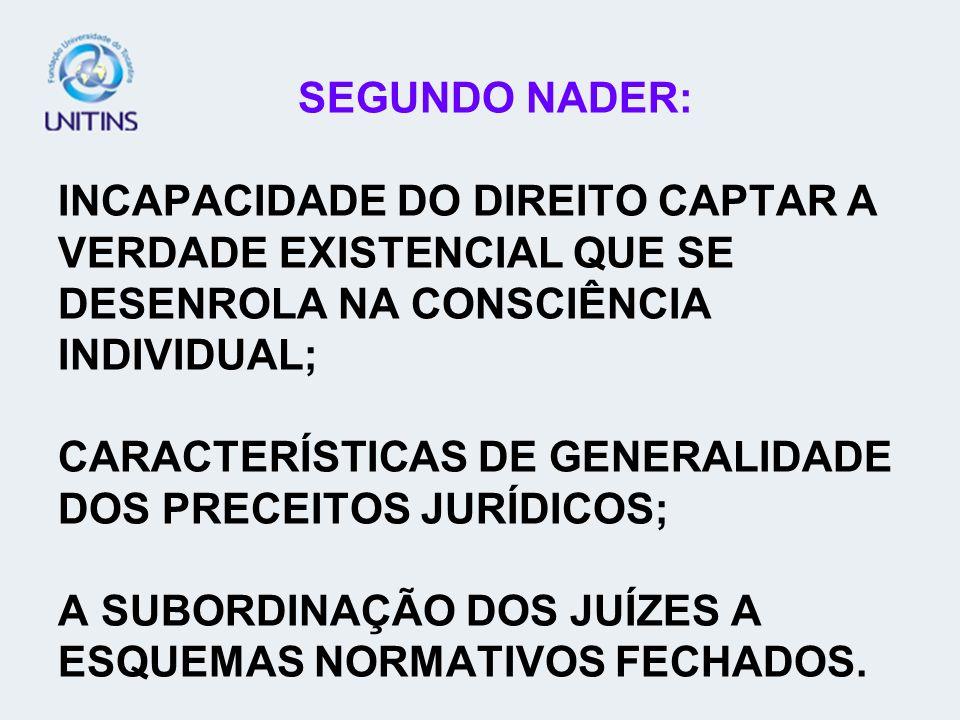 SEGUNDO NADER: INCAPACIDADE DO DIREITO CAPTAR A VERDADE EXISTENCIAL QUE SE DESENROLA NA CONSCIÊNCIA INDIVIDUAL; CARACTERÍSTICAS DE GENERALIDADE DOS PR