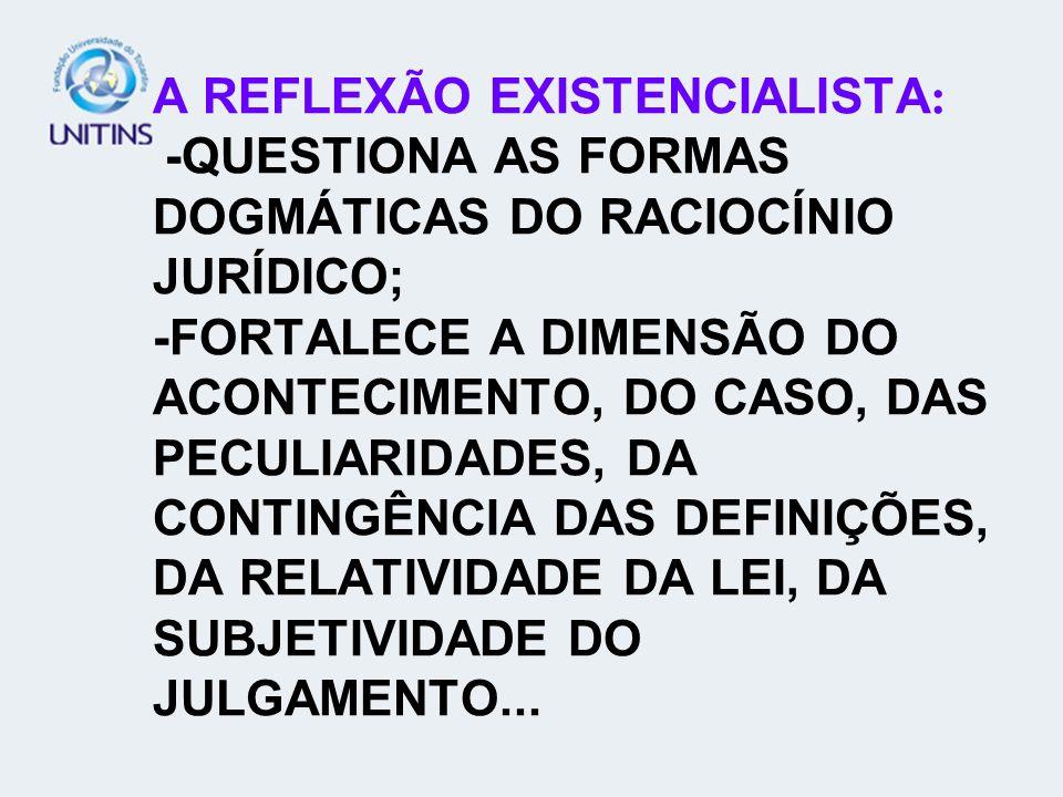 A REFLEXÃO EXISTENCIALISTA : -QUESTIONA AS FORMAS DOGMÁTICAS DO RACIOCÍNIO JURÍDICO; -FORTALECE A DIMENSÃO DO ACONTECIMENTO, DO CASO, DAS PECULIARIDAD