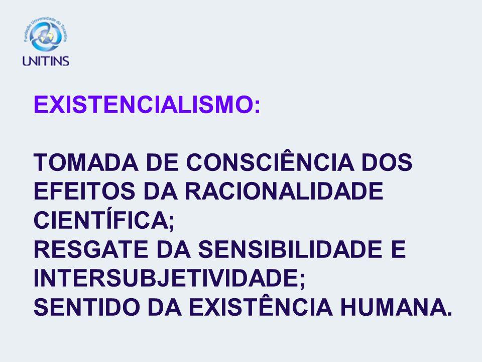 EXISTENCIALISMO: TOMADA DE CONSCIÊNCIA DOS EFEITOS DA RACIONALIDADE CIENTÍFICA; RESGATE DA SENSIBILIDADE E INTERSUBJETIVIDADE; SENTIDO DA EXISTÊNCIA H