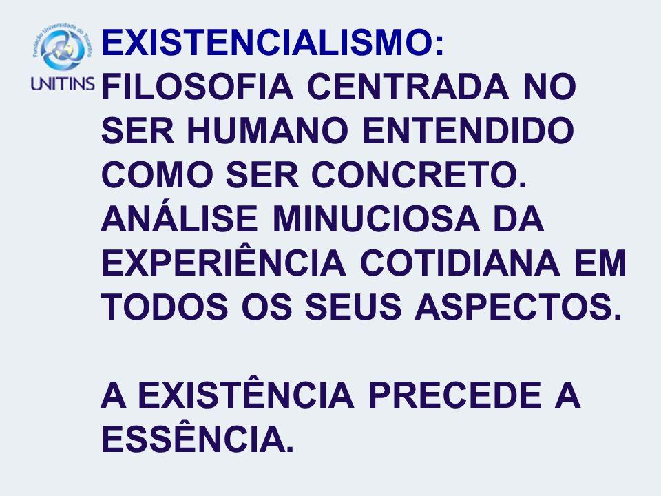 EXISTENCIALISMO: FILOSOFIA CENTRADA NO SER HUMANO ENTENDIDO COMO SER CONCRETO. ANÁLISE MINUCIOSA DA EXPERIÊNCIA COTIDIANA EM TODOS OS SEUS ASPECTOS. A