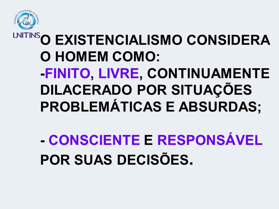 O EXISTENCIALISMO CONSIDERA O HOMEM COMO: -FINITO, LIVRE, CONTINUAMENTE DILACERADO POR SITUAÇÕES PROBLEMÁTICAS E ABSURDAS; - CONSCIENTE E RESPONSÁVEL