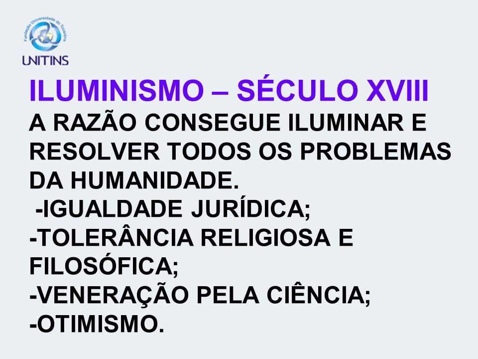 ILUMINISMO – SÉCULO XVIII A RAZÃO CONSEGUE ILUMINAR E RESOLVER TODOS OS PROBLEMAS DA HUMANIDADE. -IGUALDADE JURÍDICA; -TOLERÂNCIA RELIGIOSA E FILOSÓFI