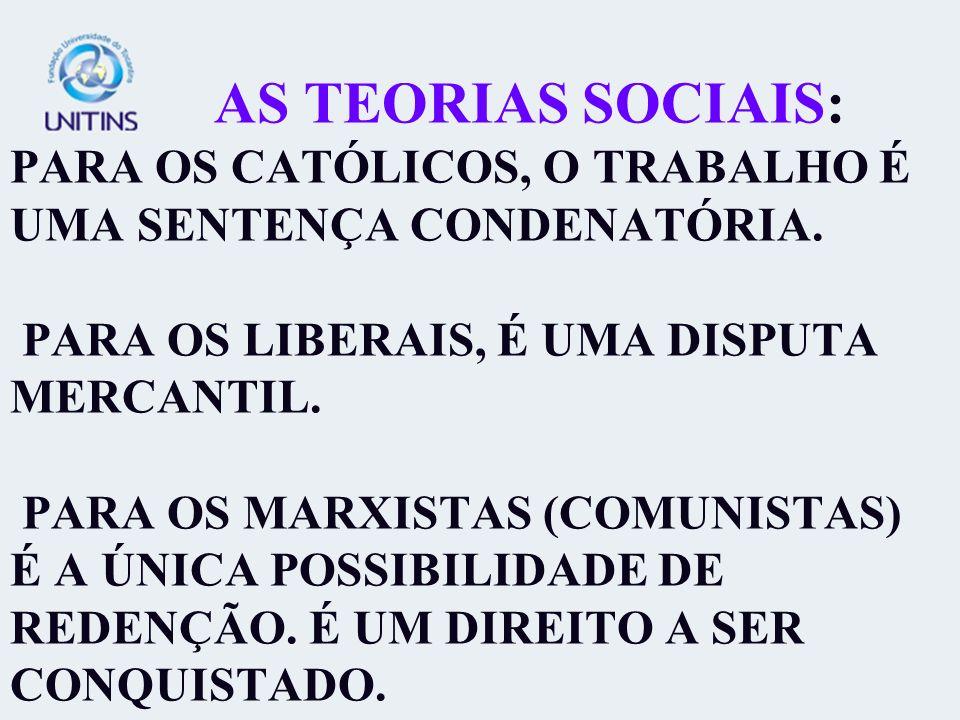 AS TEORIAS SOCIAIS: PARA OS CATÓLICOS, O TRABALHO É UMA SENTENÇA CONDENATÓRIA. PARA OS LIBERAIS, É UMA DISPUTA MERCANTIL. PARA OS MARXISTAS (COMUNISTA