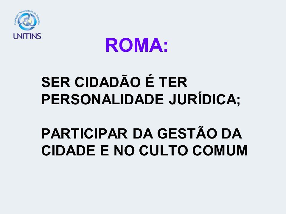 ROMA: SER CIDADÃO É TER PERSONALIDADE JURÍDICA; PARTICIPAR DA GESTÃO DA CIDADE E NO CULTO COMUM