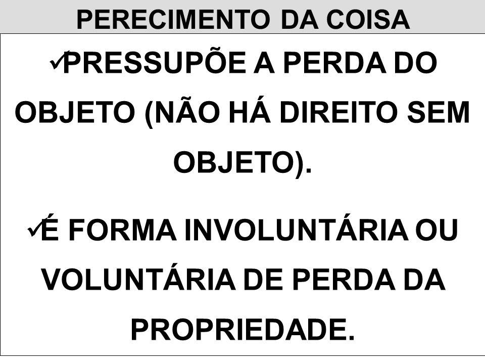 PERECIMENTO DA COISA PRESSUPÕE A PERDA DO OBJETO (NÃO HÁ DIREITO SEM OBJETO).