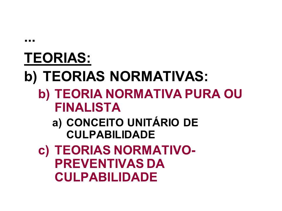... TEORIAS: b)TEORIAS NORMATIVAS: b)TEORIA NORMATIVA PURA OU FINALISTA a)CONCEITO UNITÁRIO DE CULPABILIDADE c)TEORIAS NORMATIVO- PREVENTIVAS DA CULPA