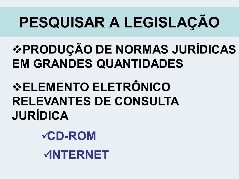 PESQUISAR A LEGISLAÇÃO PRODUÇÃO DE NORMAS JURÍDICAS EM GRANDES QUANTIDADES ELEMENTO ELETRÔNICO RELEVANTES DE CONSULTA JURÍDICA CD-ROM INTERNET