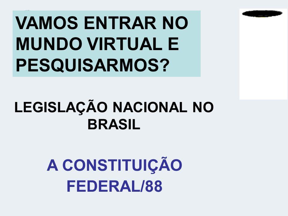 VAMOS ENTRAR NO MUNDO VIRTUAL E PESQUISARMOS? LEGISLAÇÃO NACIONAL NO BRASIL A CONSTITUIÇÃO FEDERAL/88