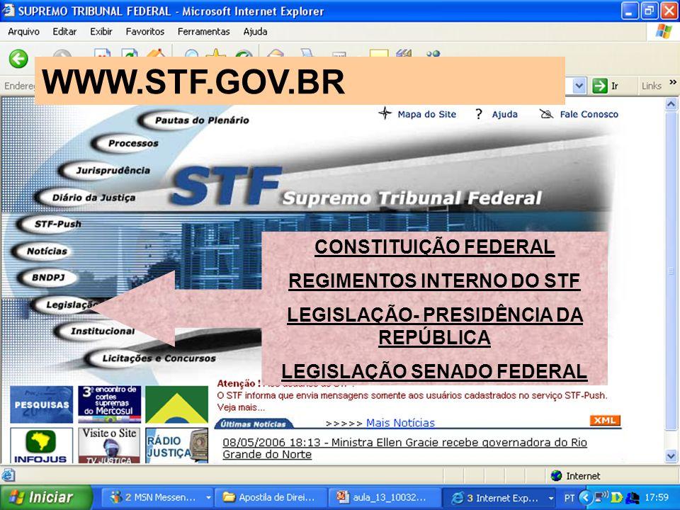 CONSTITUIÇÃO FEDERAL REGIMENTOS INTERNO DO STF LEGISLAÇÃO- PRESIDÊNCIA DA REPÚBLICA LEGISLAÇÃO SENADO FEDERAL WWW.STF.GOV.BR