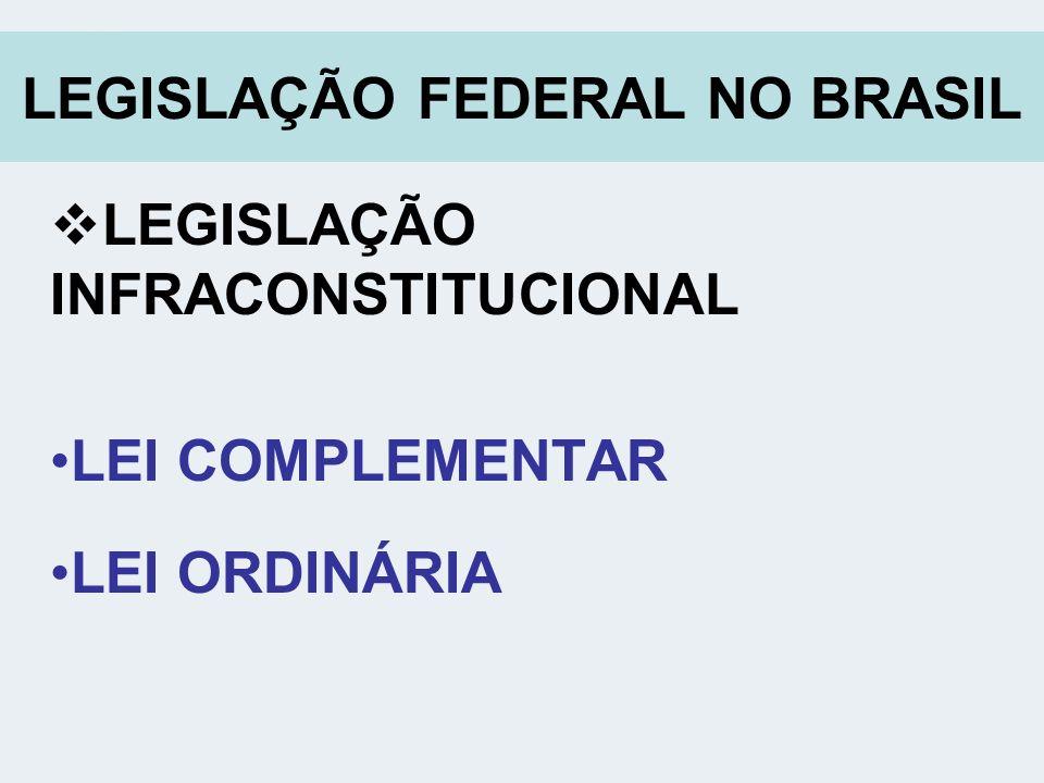 LEGISLAÇÃO FEDERAL NO BRASIL LEGISLAÇÃO INFRACONSTITUCIONAL LEI COMPLEMENTAR LEI ORDINÁRIA