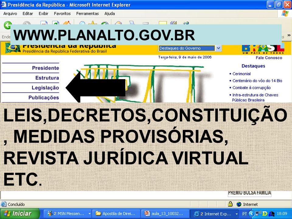 LEIS,DECRETOS,CONSTITUIÇÃO, MEDIDAS PROVISÓRIAS, REVISTA JURÍDICA VIRTUAL ETC. WWW.PLANALTO.GOV.BR