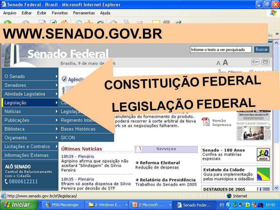 CONSTITUIÇÃO FEDERAL LEGISLAÇÃO FEDERAL WWW.SENADO.GOV.BR