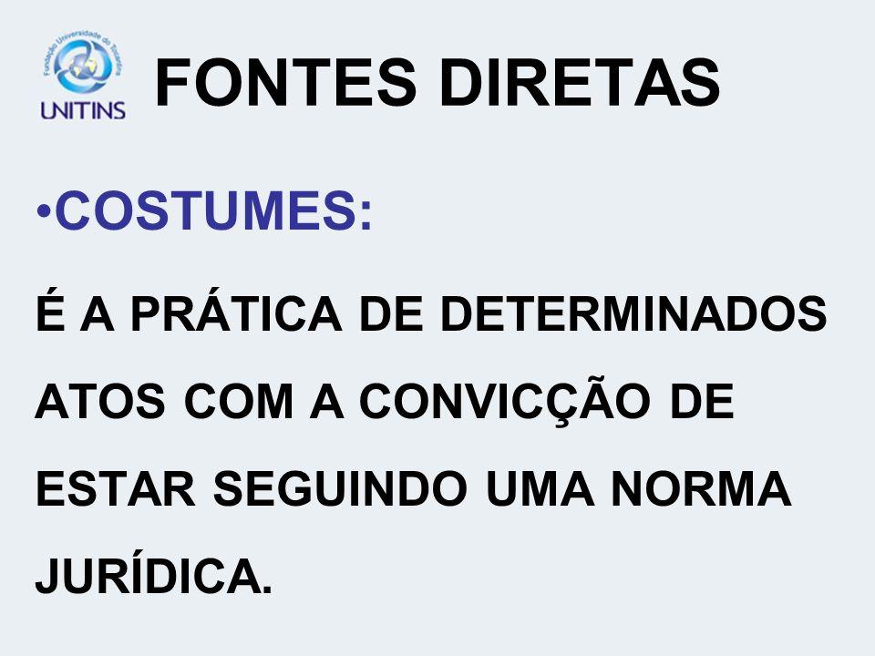 FONTES DIRETAS COSTUMES: É A PRÁTICA DE DETERMINADOS ATOS COM A CONVICÇÃO DE ESTAR SEGUINDO UMA NORMA JURÍDICA.