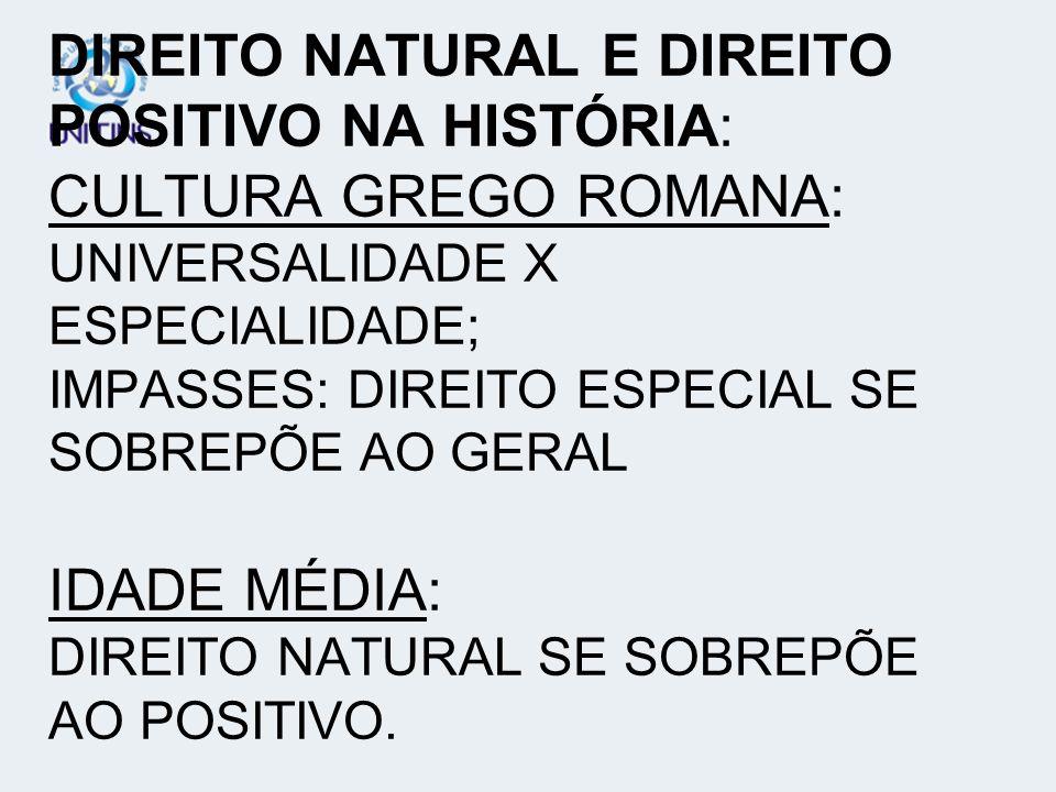 DIREITO NATURAL E DIREITO POSITIVO NA HISTÓRIA: CULTURA GREGO ROMANA: UNIVERSALIDADE X ESPECIALIDADE; IMPASSES: DIREITO ESPECIAL SE SOBREPÕE AO GERAL
