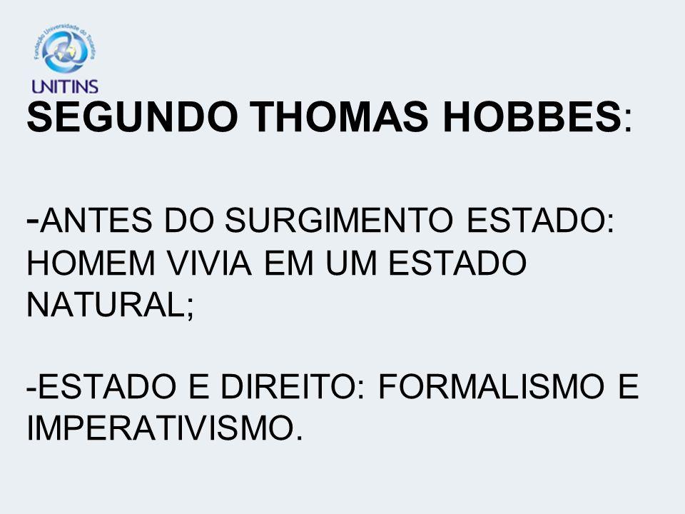 SEGUNDO THOMAS HOBBES: - ANTES DO SURGIMENTO ESTADO: HOMEM VIVIA EM UM ESTADO NATURAL; -ESTADO E DIREITO: FORMALISMO E IMPERATIVISMO.