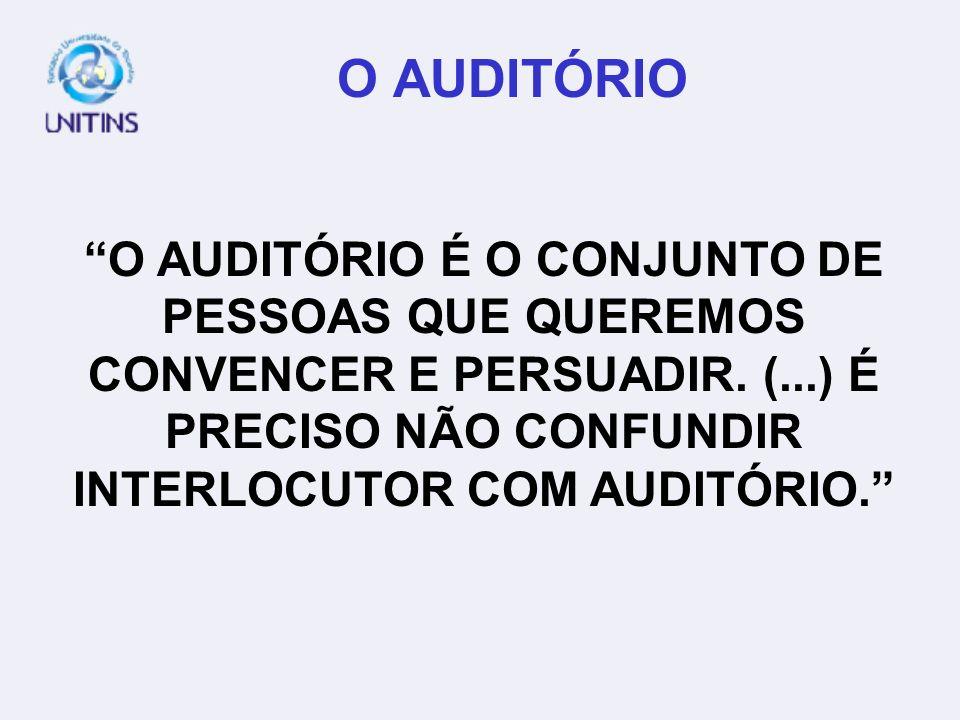 O AUDITÓRIO O AUDITÓRIO É O CONJUNTO DE PESSOAS QUE QUEREMOS CONVENCER E PERSUADIR. (...) É PRECISO NÃO CONFUNDIR INTERLOCUTOR COM AUDITÓRIO.