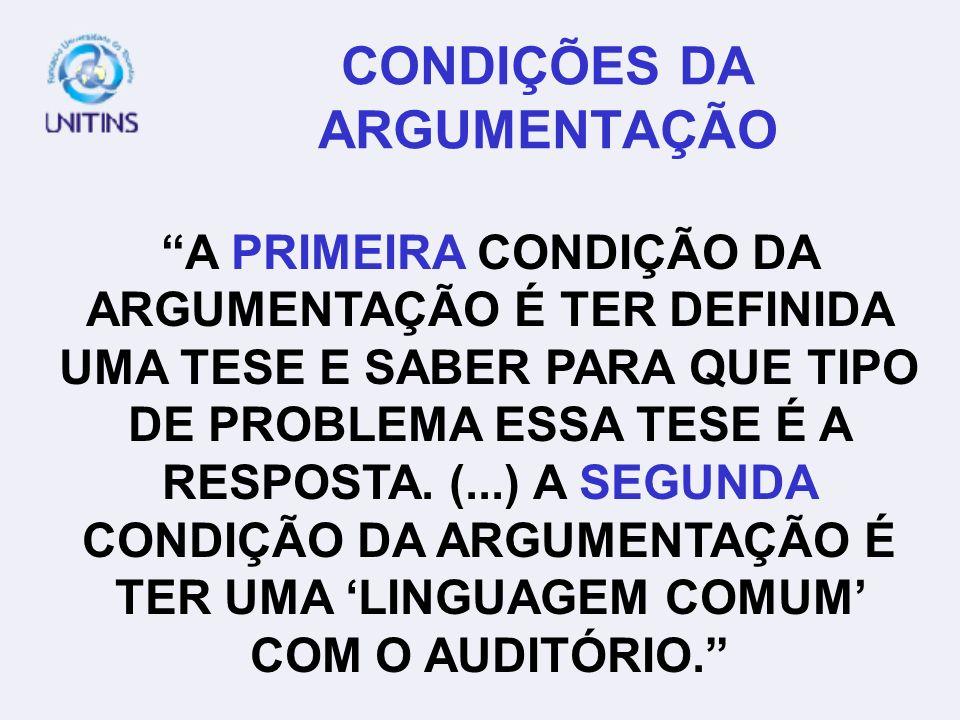 CONDIÇÕES DA ARGUMENTAÇÃO A PRIMEIRA CONDIÇÃO DA ARGUMENTAÇÃO É TER DEFINIDA UMA TESE E SABER PARA QUE TIPO DE PROBLEMA ESSA TESE É A RESPOSTA. (...)