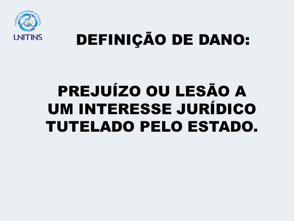 DEFINIÇÃO DE DANO: PREJUÍZO OU LESÃO A UM INTERESSE JURÍDICO TUTELADO PELO ESTADO.
