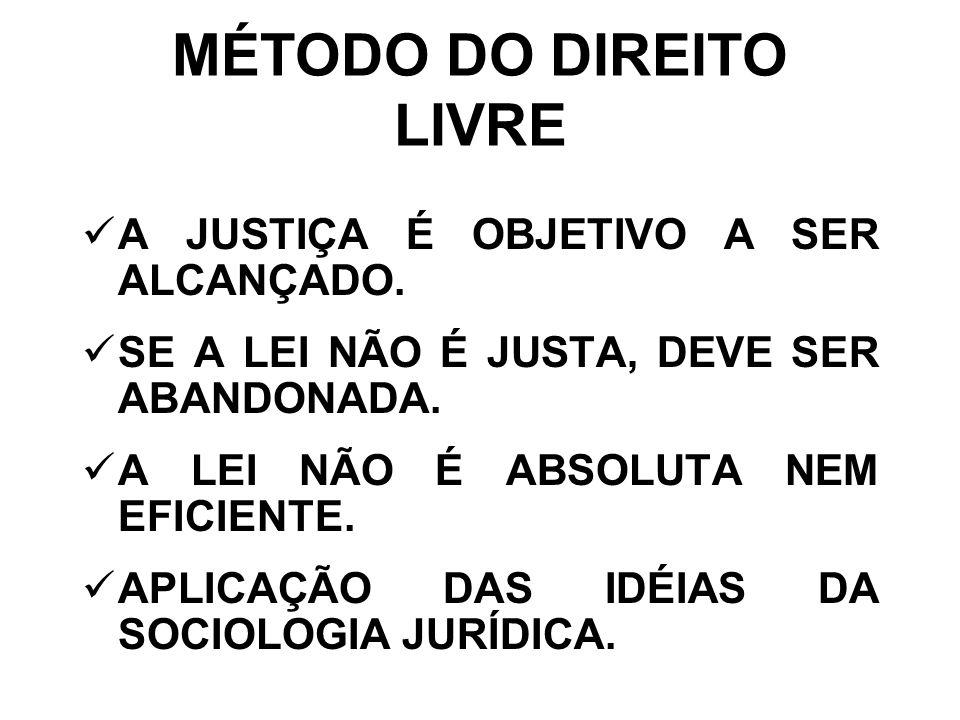 MÉTODO DO DIREITO LIVRE A JUSTIÇA É OBJETIVO A SER ALCANÇADO.