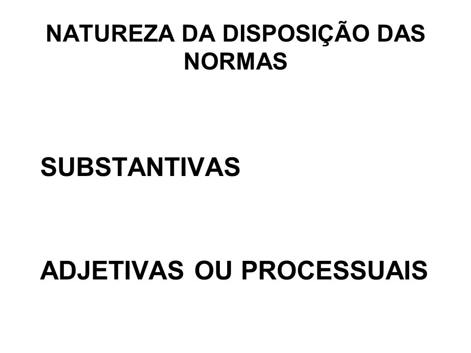 NATUREZA DA DISPOSIÇÃO DAS NORMAS SUBSTANTIVAS ADJETIVAS OU PROCESSUAIS