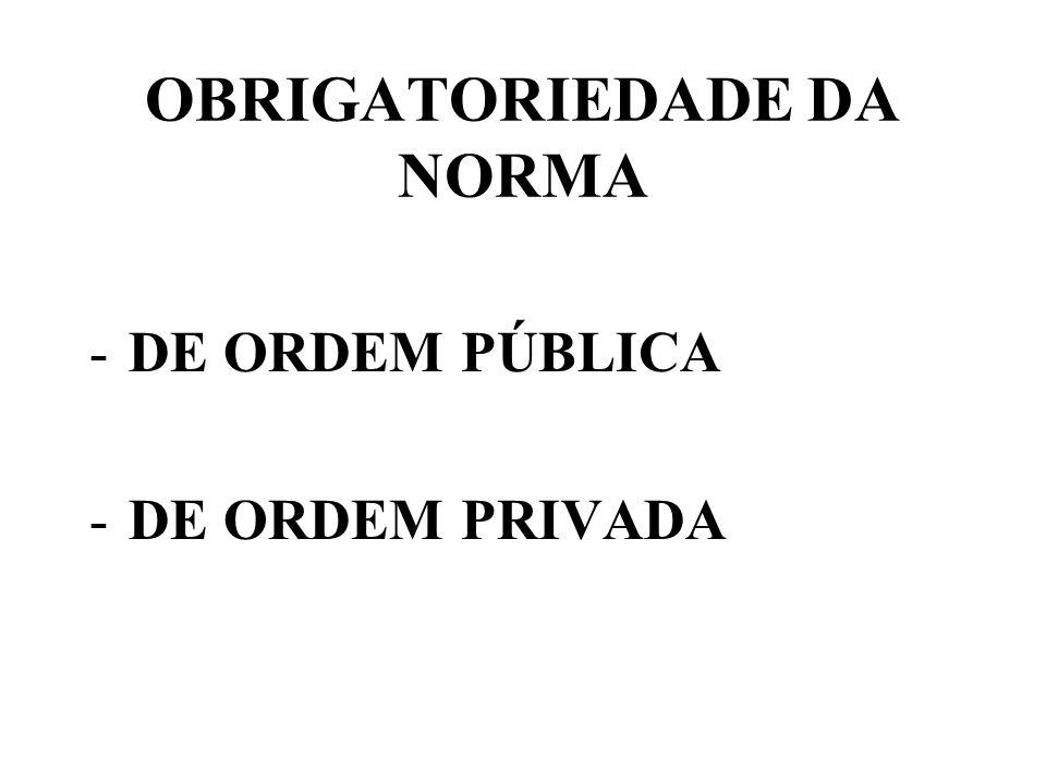 OBRIGATORIEDADE DA NORMA -DE ORDEM PÚBLICA -DE ORDEM PRIVADA