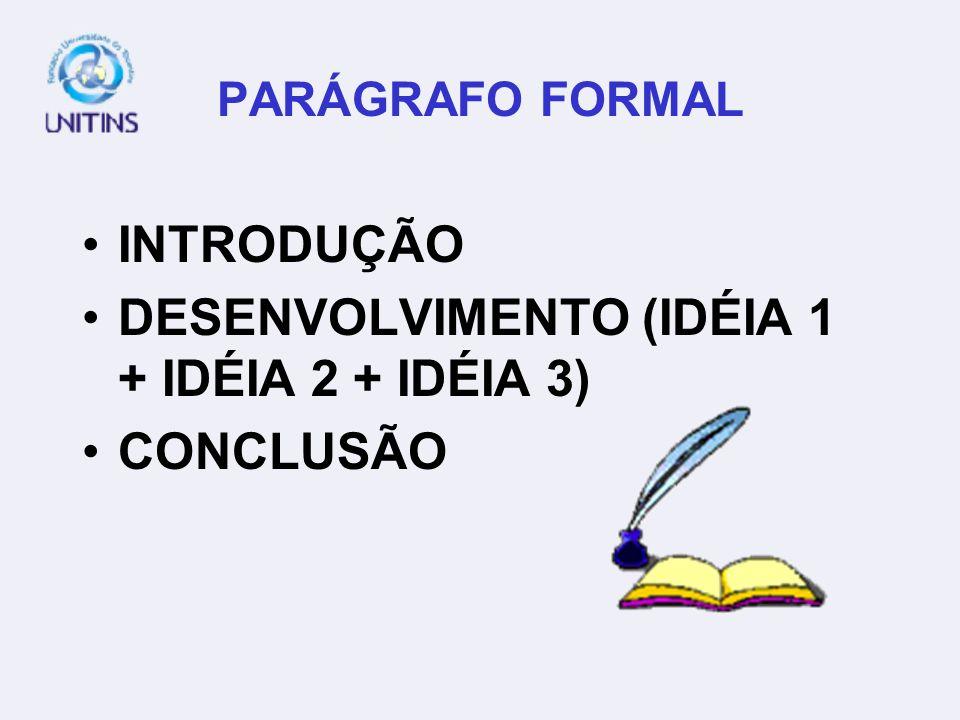 PARÁGRAFO FORMAL INTRODUÇÃO DESENVOLVIMENTO (IDÉIA 1 + IDÉIA 2 + IDÉIA 3) CONCLUSÃO
