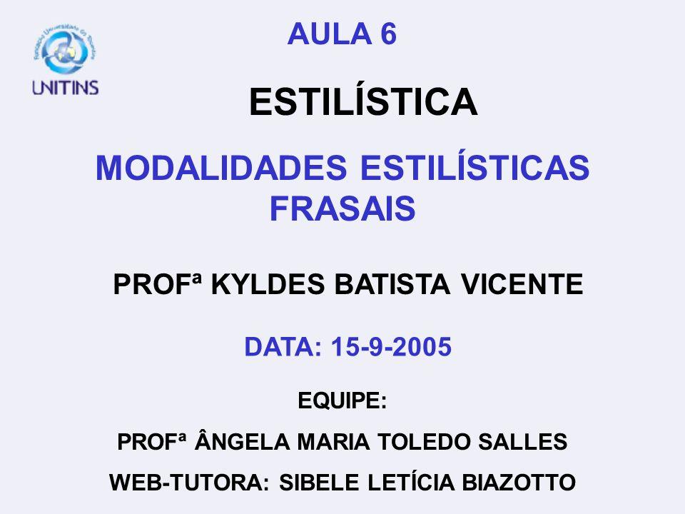 PROFª KYLDES BATISTA VICENTE EQUIPE: PROFª ÂNGELA MARIA TOLEDO SALLES WEB-TUTORA: SIBELE LETÍCIA BIAZOTTO AULA 6 ESTILÍSTICA MODALIDADES ESTILÍSTICAS
