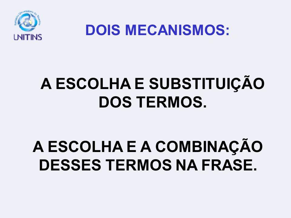 DOIS MECANISMOS: A ESCOLHA E SUBSTITUIÇÃO DOS TERMOS. A ESCOLHA E A COMBINAÇÃO DESSES TERMOS NA FRASE.