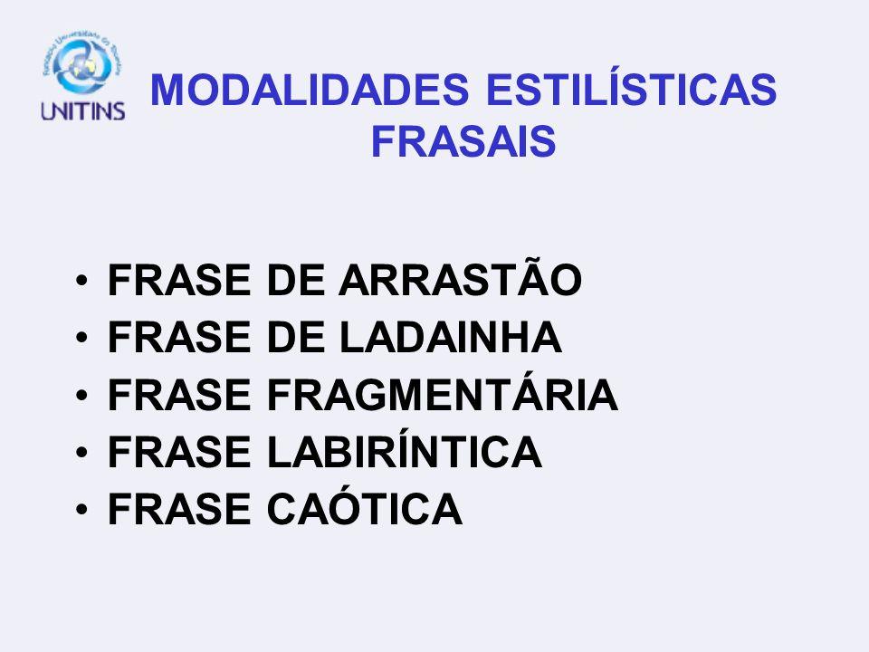 MODALIDADES ESTILÍSTICAS FRASAIS FRASE DE ARRASTÃO FRASE DE LADAINHA FRASE FRAGMENTÁRIA FRASE LABIRÍNTICA FRASE CAÓTICA