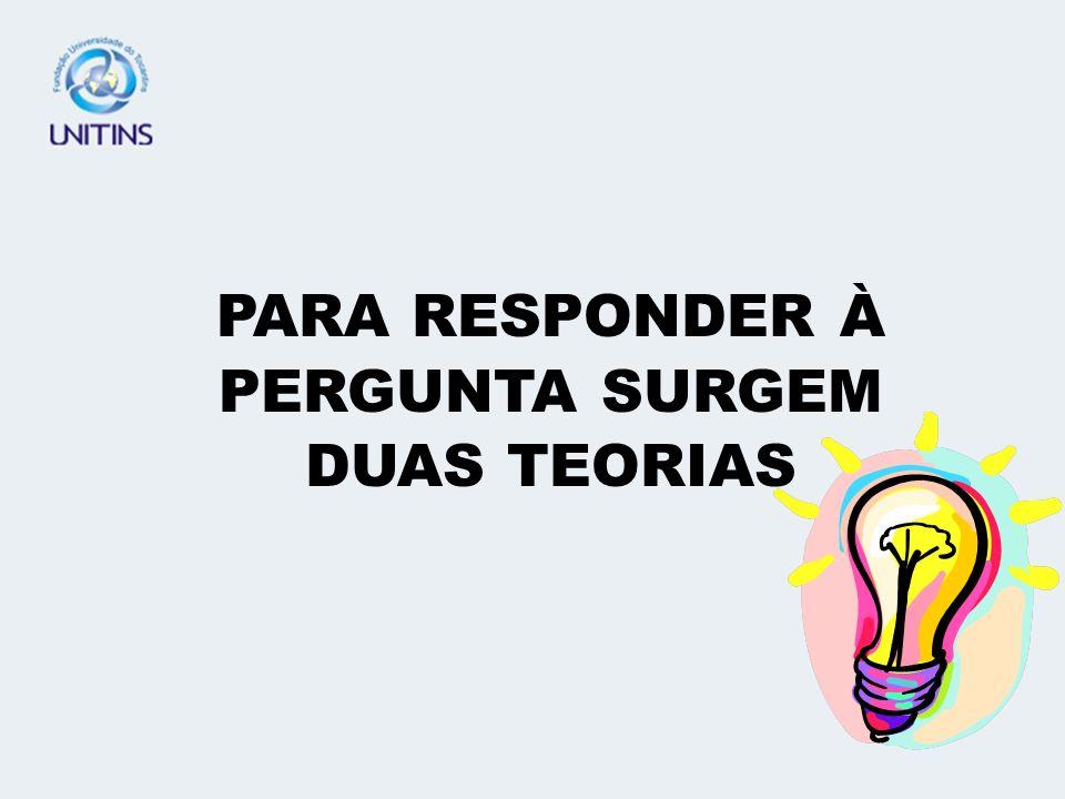 PARA RESPONDER À PERGUNTA SURGEM DUAS TEORIAS