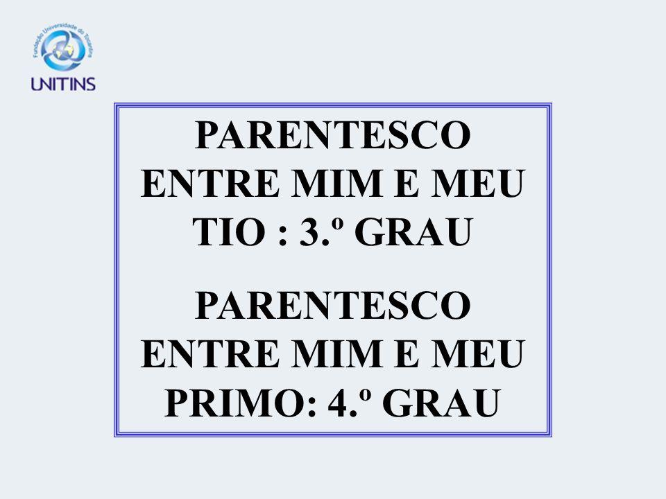 PARENTESCO ENTRE MIM E MEU TIO : 3.º GRAU PARENTESCO ENTRE MIM E MEU PRIMO: 4.º GRAU
