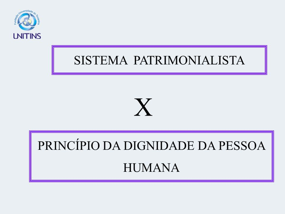 SISTEMA PATRIMONIALISTA X PRINCÍPIO DA DIGNIDADE DA PESSOA HUMANA