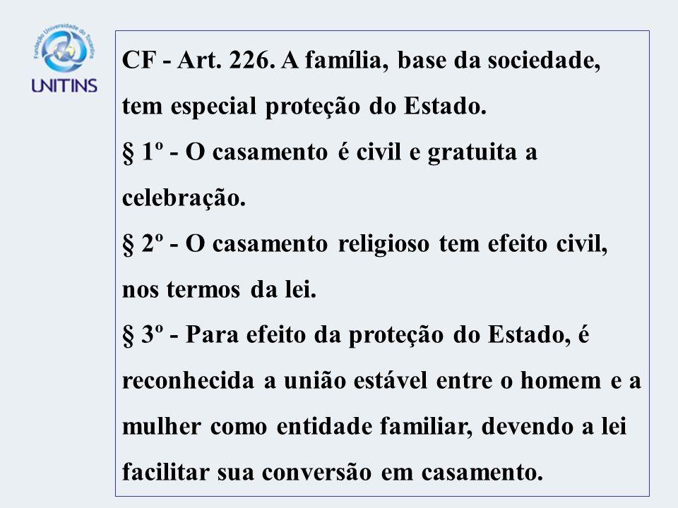 CF - Art. 226. A família, base da sociedade, tem especial proteção do Estado. § 1º - O casamento é civil e gratuita a celebração. § 2º - O casamento r