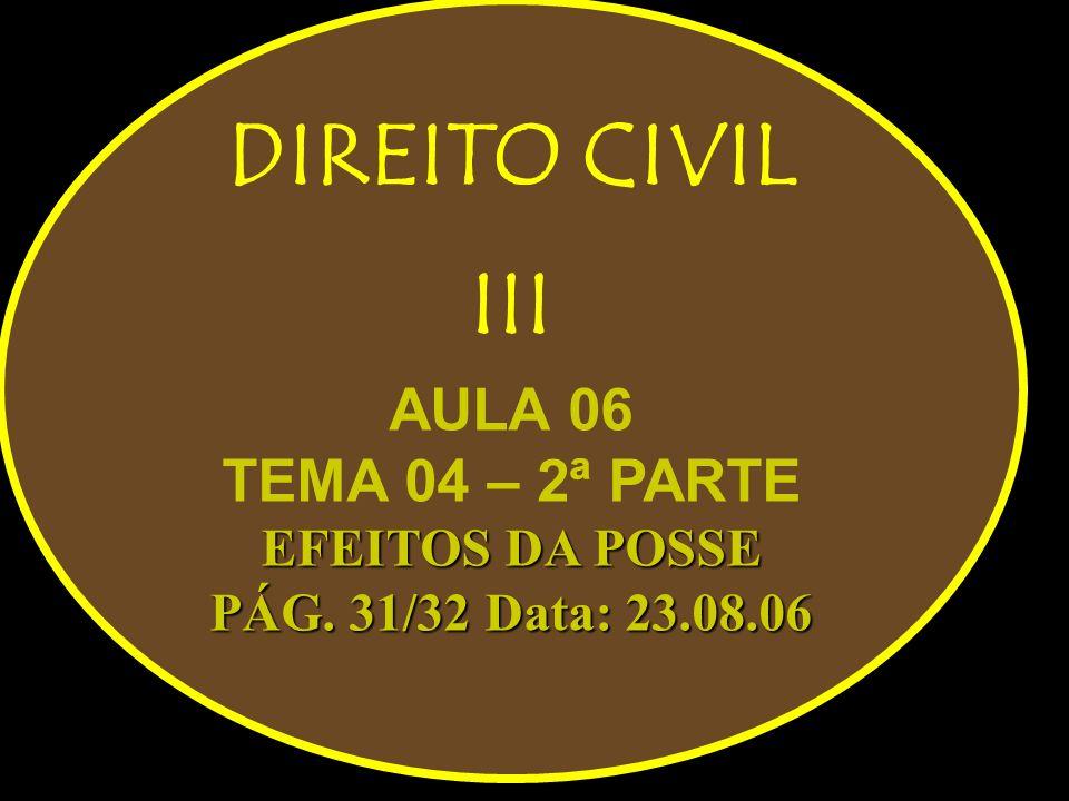 DIREITO CIVIL III AULA 06 TEMA 04 – 2ª PARTE EFEITOS DA POSSE PÁG. 31/32 Data: 23.08.06