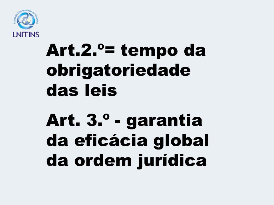 Art.2.º= tempo da obrigatoriedade das leis Art. 3.º - garantia da eficácia global da ordem jurídica