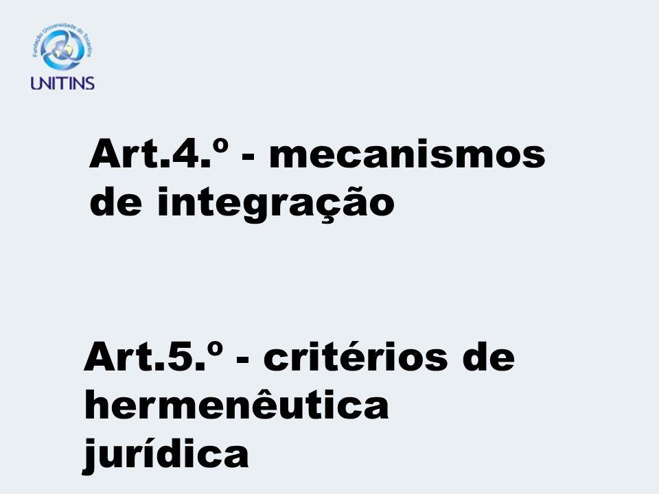 Art.5.º - critérios de hermenêutica jurídica Art.4.º - mecanismos de integração