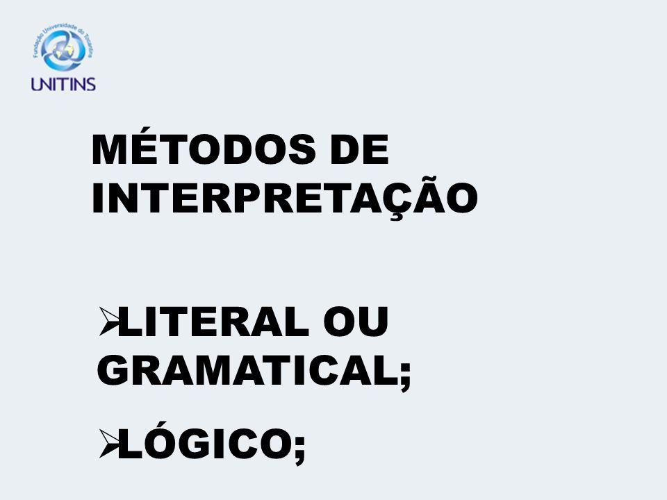 MÉTODOS DE INTERPRETAÇÃO LITERAL OU GRAMATICAL; LÓGICO;