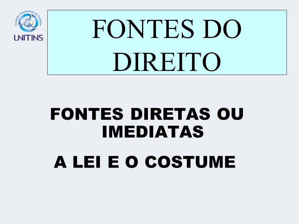 FONTES DO DIREITO FONTES DIRETAS OU IMEDIATAS A LEI E O COSTUME