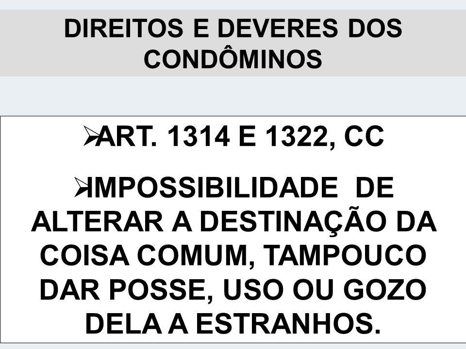 DIREITOS E DEVERES DOS CONDÔMINOS ART.