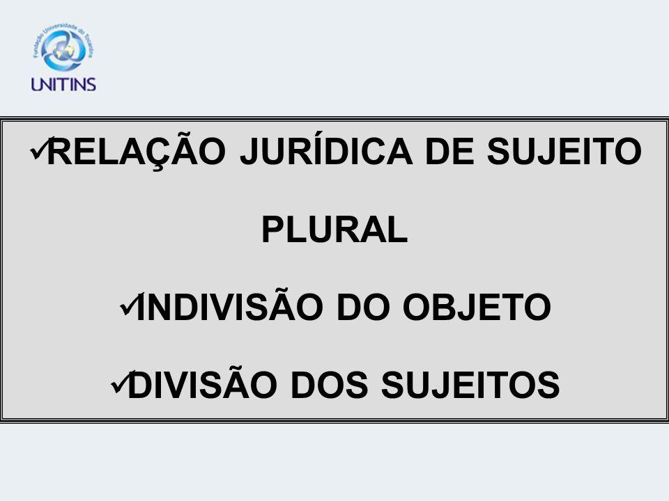 RELAÇÃO JURÍDICA DE SUJEITO PLURAL INDIVISÃO DO OBJETO DIVISÃO DOS SUJEITOS