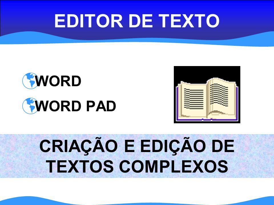 EDITOR DE TEXTO WORD WORD PAD CRIAÇÃO E EDIÇÃO DE TEXTOS COMPLEXOS