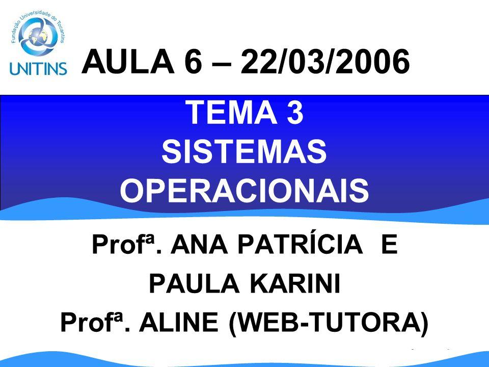 TEMA 3 SISTEMAS OPERACIONAIS Profª.ANA PATRÍCIA E PAULA KARINI Profª.