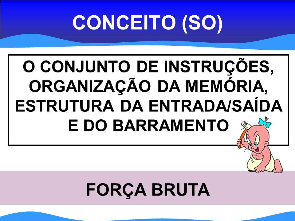 CONCEITO (SO) O CONJUNTO DE INSTRUÇÕES, ORGANIZAÇÃO DA MEMÓRIA, ESTRUTURA DA ENTRADA/SAÍDA E DO BARRAMENTO FORÇA BRUTA