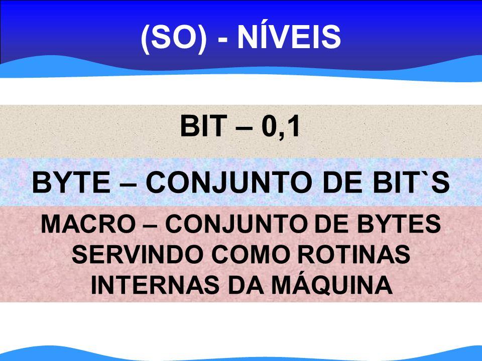 (SO) - NÍVEIS BIT – 0,1 MACRO – CONJUNTO DE BYTES SERVINDO COMO ROTINAS INTERNAS DA MÁQUINA BYTE – CONJUNTO DE BIT`S