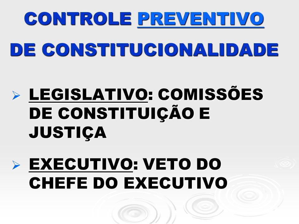 CONTROLE PREVENTIVO DE CONSTITUCIONALIDADE LEGISLATIVO: COMISSÕES DE CONSTITUIÇÃO E JUSTIÇA LEGISLATIVO: COMISSÕES DE CONSTITUIÇÃO E JUSTIÇA EXECUTIVO