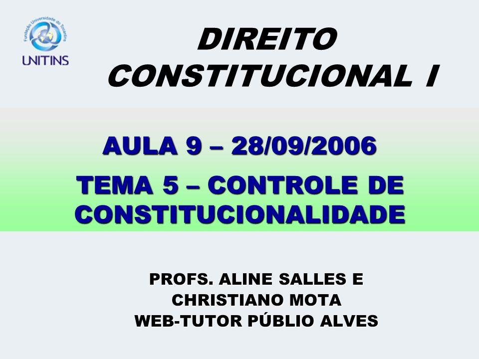 AULA 9 – 28/09/2006 TEMA 5 – CONTROLE DE CONSTITUCIONALIDADE PROFS. ALINE SALLES E CHRISTIANO MOTA WEB-TUTOR PÚBLIO ALVES DIREITO CONSTITUCIONAL I
