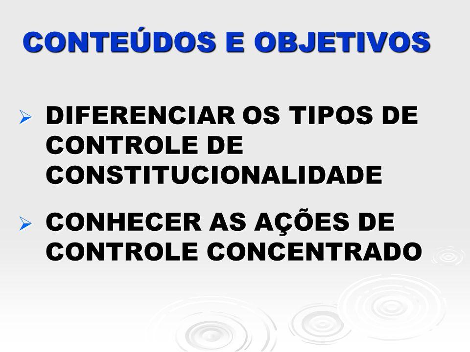 CONTEÚDOS E OBJETIVOS DIFERENCIAR OS TIPOS DE CONTROLE DE CONSTITUCIONALIDADE DIFERENCIAR OS TIPOS DE CONTROLE DE CONSTITUCIONALIDADE CONHECER AS AÇÕE