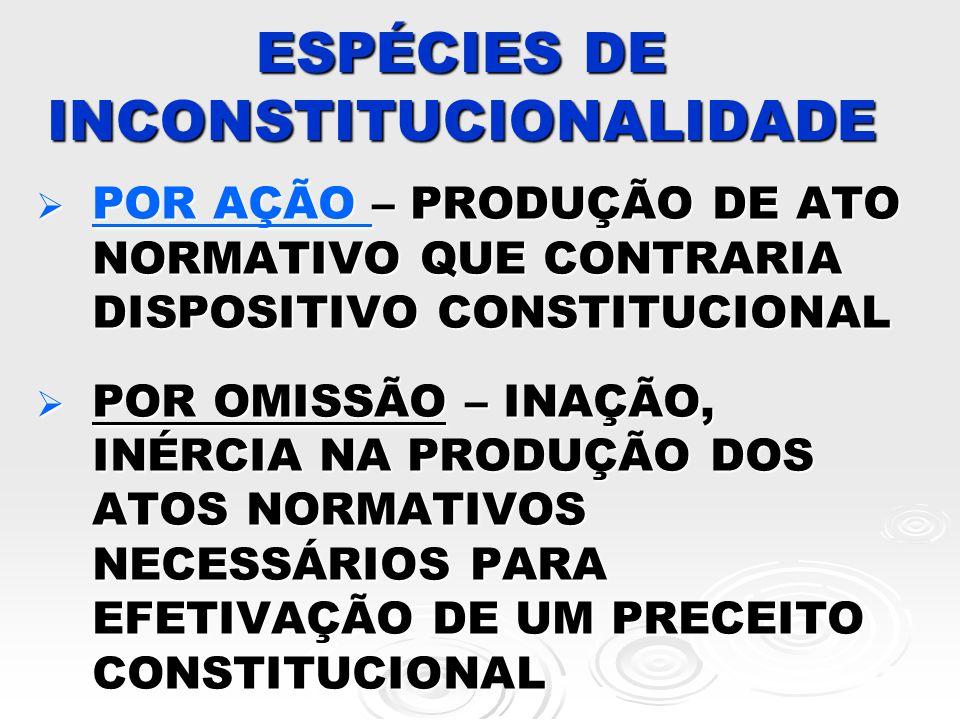 INCONSTITUCIONALIDADE POR AÇÃO MATERIAL: CHOQUE VERTICAL DE CONTEÚDO, PRINCÍPIO DA PROPORCIONALIDADE MATERIAL: CHOQUE VERTICAL DE CONTEÚDO, PRINCÍPIO DA PROPORCIONALIDADE FORMAL FORMAL – OBJETIVA: DESOBEDIÊNCIA A UM RITO – SUBJETIVA: FALTA DE COMPETÊNCIA NA PROPOSIÇÃO DO PROJETO..