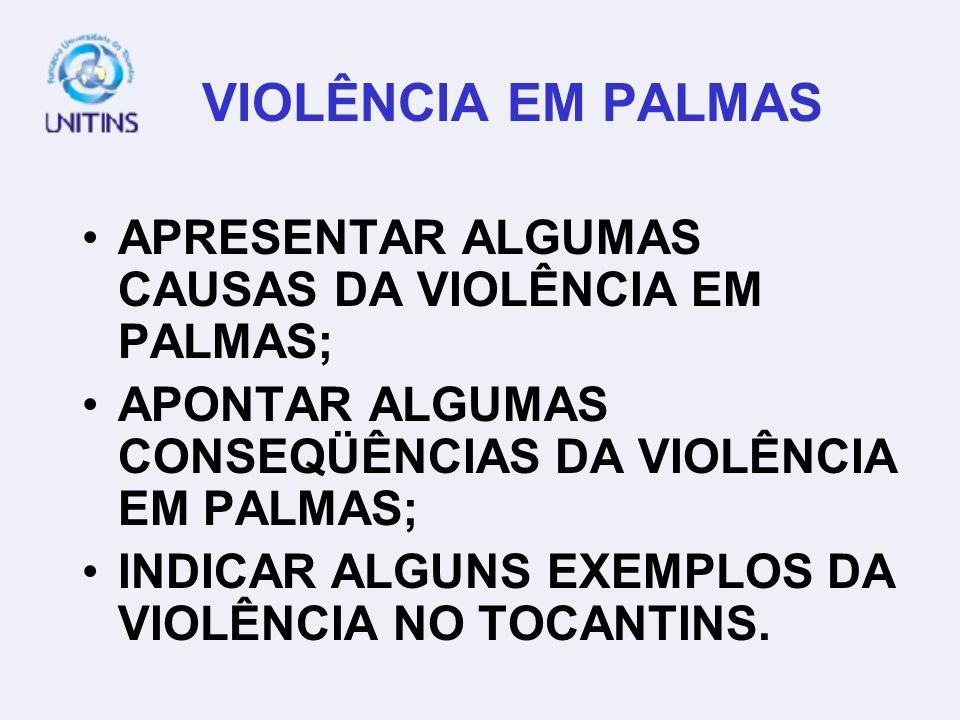 VIOLÊNCIA EM PALMAS APRESENTAR ALGUMAS CAUSAS DA VIOLÊNCIA EM PALMAS; APONTAR ALGUMAS CONSEQÜÊNCIAS DA VIOLÊNCIA EM PALMAS; INDICAR ALGUNS EXEMPLOS DA